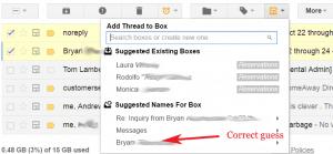 Streak suggesting box names